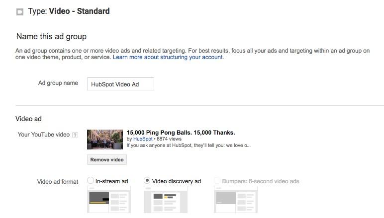گروه تبلیغاتی خود را نام ببرید و سپس لینک یوتیوب را برای ویدئویی که میخواهید تبلیغ را برای آن اجرا کنید قرار دهید