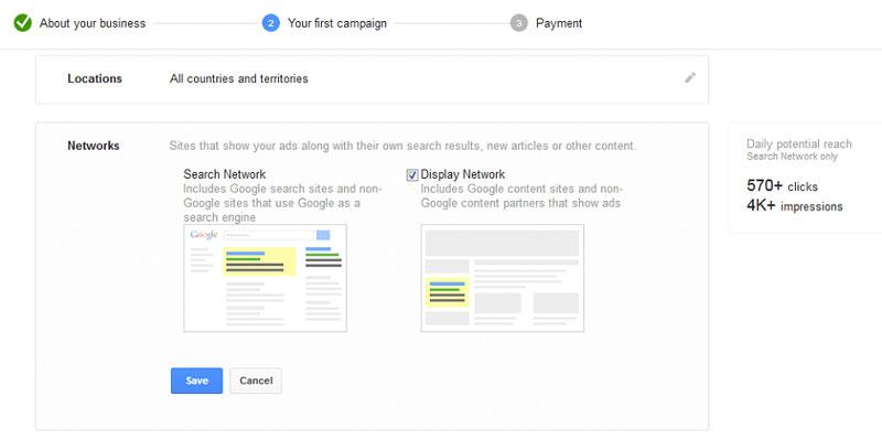 شما میتوانید یکی یا هر دوی این شبکهها را برای تبلیغات گوگل خود برگزینید