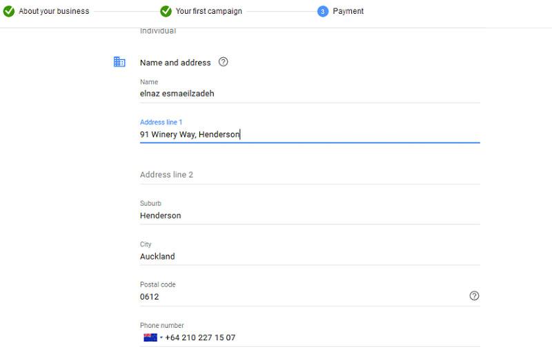 اکنون نوبت به وارد کردن نام، آدرس و مشخصات پرداخت است. که به ترتیب در تصاویر زیر نمایش می دهیم.
