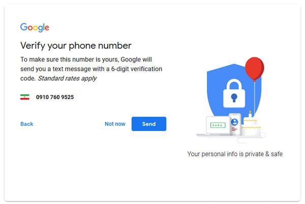 ارسال کد تأییدیه از سوی گوگل به شماره تماس شما