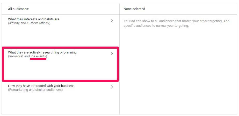 select in market and life events - google adwords