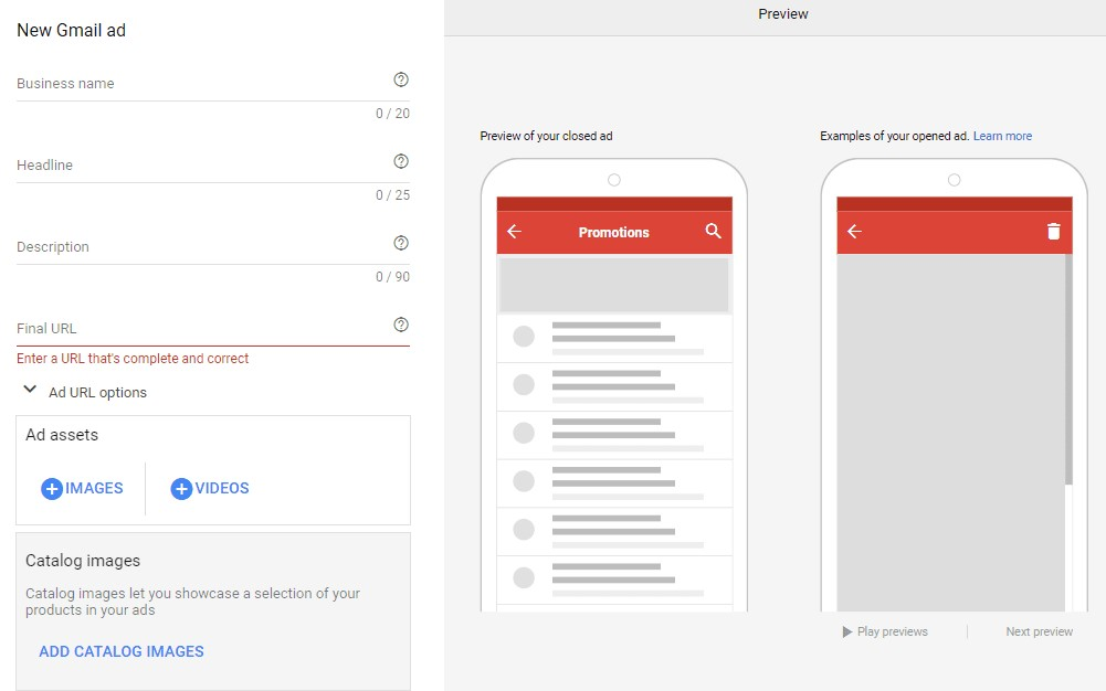 set parameters for gmail ad