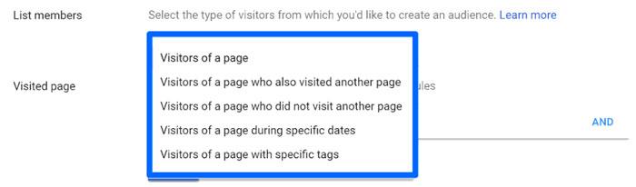 اما میتوانید این لیست ها را فراتر از وب سایت ساده retargeting کنید. برای مشاهده ی گزینههای بیشتر، روی فهرست کرکرهای کلیک کنید