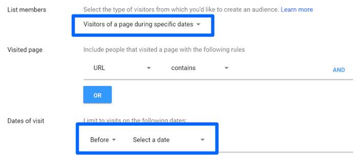 """میتوانید با استفاده از """" بازدید کنندگان یک صفحه در طول زمان خاص """"، کمپین هایی را براساس فروش های ویژه یا تعطیلات خاص ایجاد کنید"""