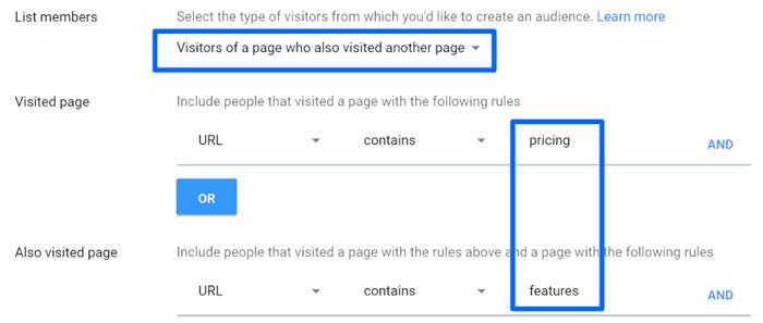 فهرست retargeting جدیدی براساس صفحه بازدید ایجاد کنید تا بتوانید فهرست عظیمی از کاربرانی که تنها چند اینچ از تبدیل فاصله دارند را ثبت کنید.