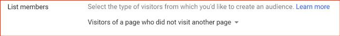 گزینه دیگر، حذف افرادی است که از صفحات مشخص در سایت شما بازدید کردهاند.
