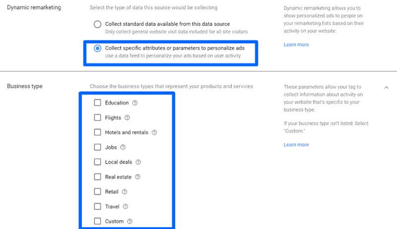 هنگامی که روی تنظیمات تگهای تبلیغات در گوگل ادوردز کلیک میکنید، میتوانید دادههای جمع آوریشده را بسته به برند خود سفارشی کنید.