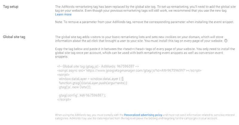 میتوانید اسکریپت retargeting را بر روی هر صفحه وب سایت خود کپی پیست کنید