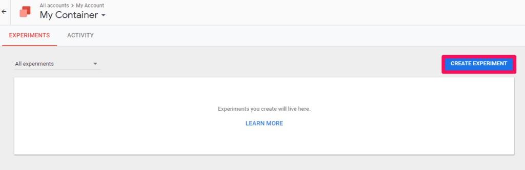 با استفاده از ویرایشگر، WYSIWYG یک آزمایش جدید را از داشبورد طراحی کنید.