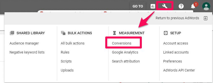 """• وارد سیستم تبلیغات گوگل ادوردز خود شوید و بخش """" Conversions """" را پیدا کنید."""