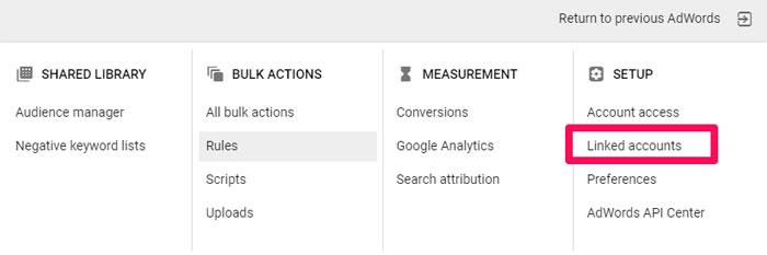 برای پیوند دادن Google Analytics، به «حسابهای مرتبط شده» در جعبه ابزار خود بروید