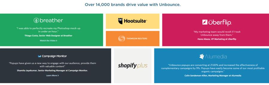 تقریبا هر شرکت موفق مدرک اجتماعی را به شکلی دیگر به نمایش میگذارد . برای مثال Unbounce نام تجاری خود را که از محصولات و خدمات استفاده میکنند، نشان میدهد.