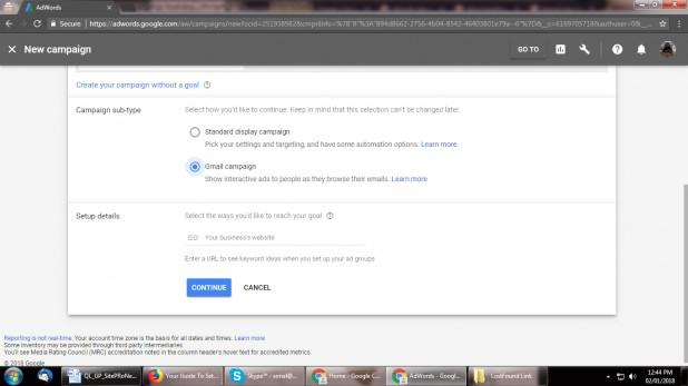 """بر روی """" Campaign Gmail """" کلیک کنید."""