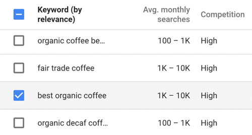 یک کلید واژه در فهرست پیشنهادهایی که میخواهید هدف قرار دهید پیدا کنید
