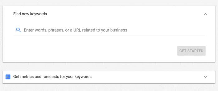 ابزارهای مختلف در Google Keyword Planner