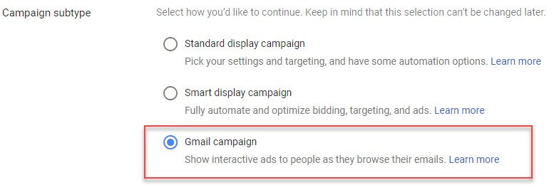 Gmail campaign remarketing