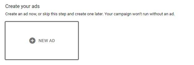 """بر روی دکمه"""" New ad group """"کلیک کنید تا گزینههای creation تبلیغ شما را نشان دهد"""