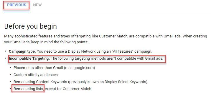 remarketing برای آگهیهای Gmail در رابط کاربر قدیمی موجود نیست.